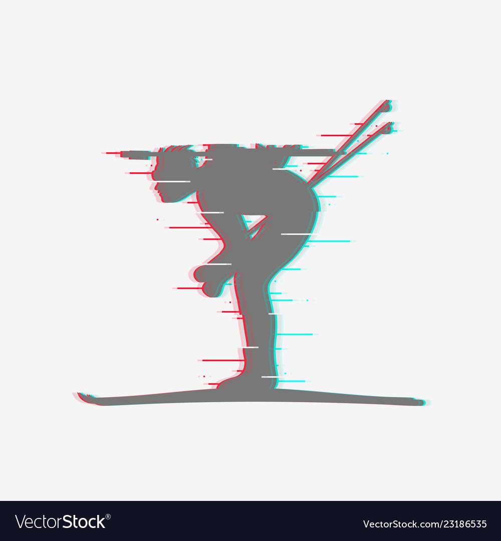 Biathlete runs sprint icon with glitch effect vector image