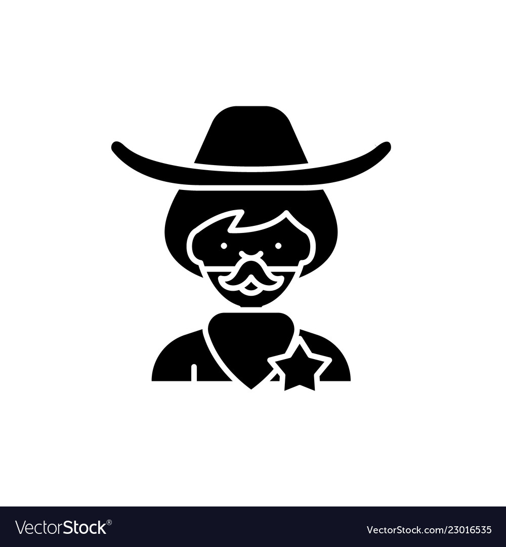 Cowboy black icon sign on isolated