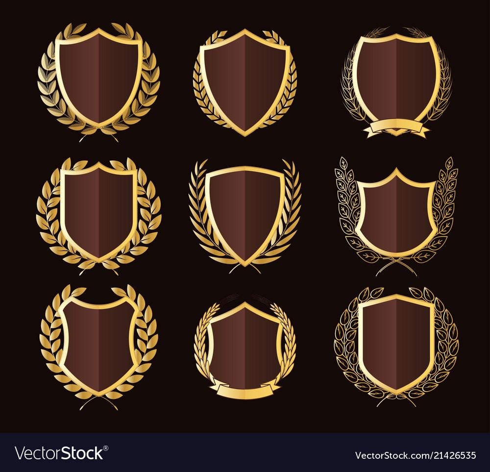 Golden shields laurel wreaths badges collection