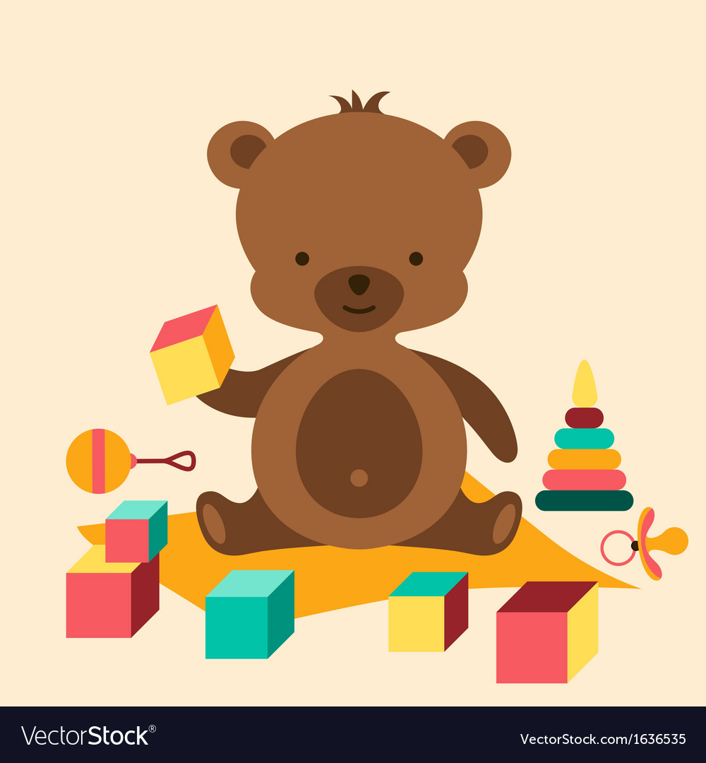 Little cute baby bear playing with toys