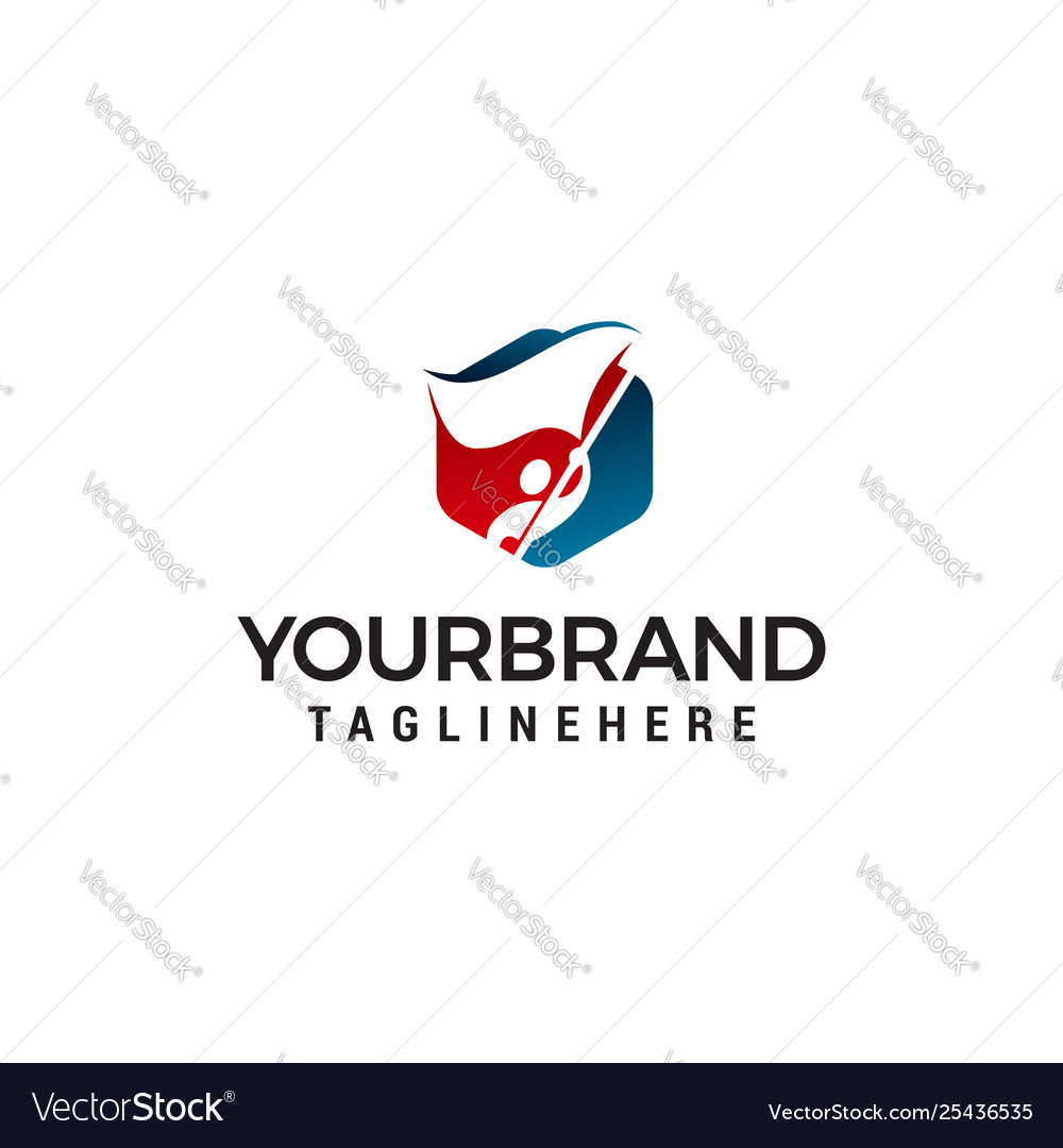 Man with flag logo design concept template