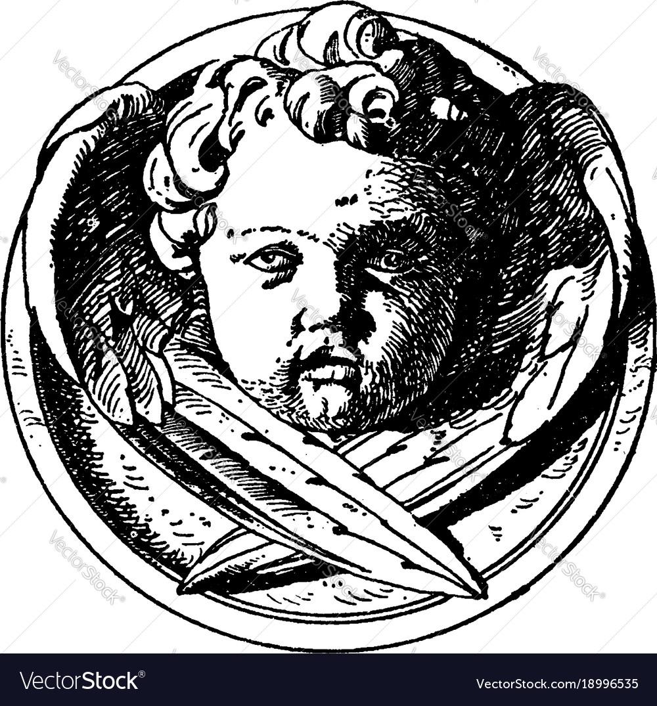 Modern cherub head is a design on a medallion
