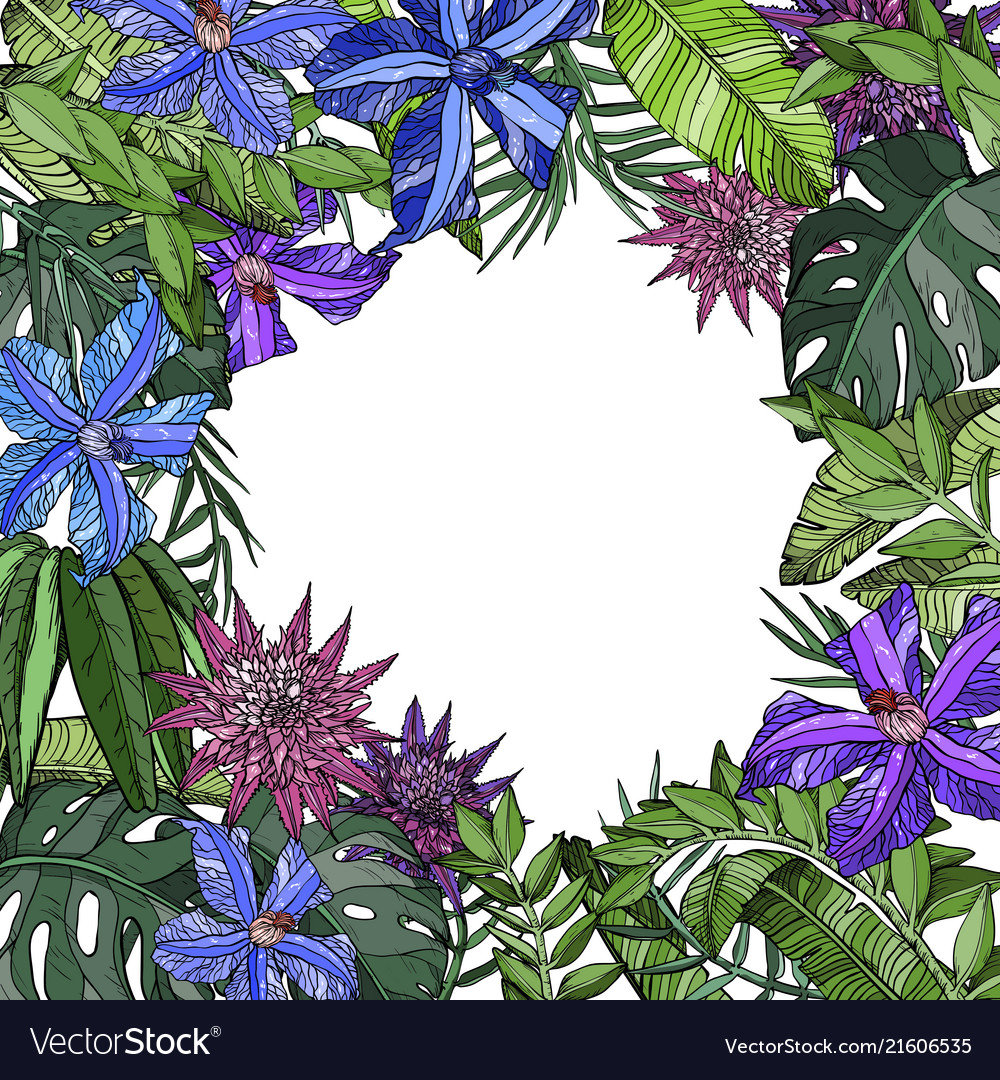 Seamless pattern with blue and purple flowers