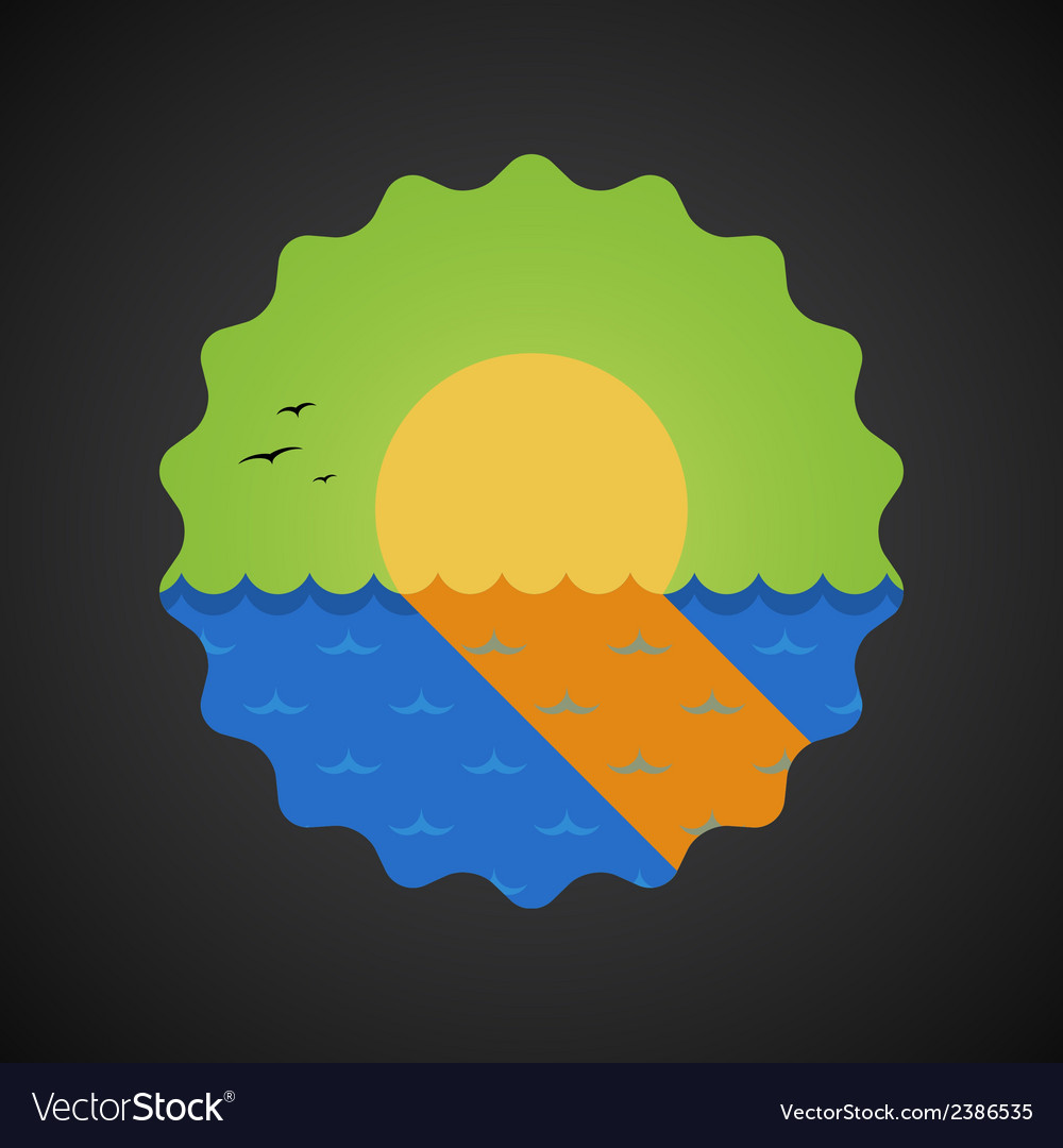 Summer Travel Sea Sunset flat icon