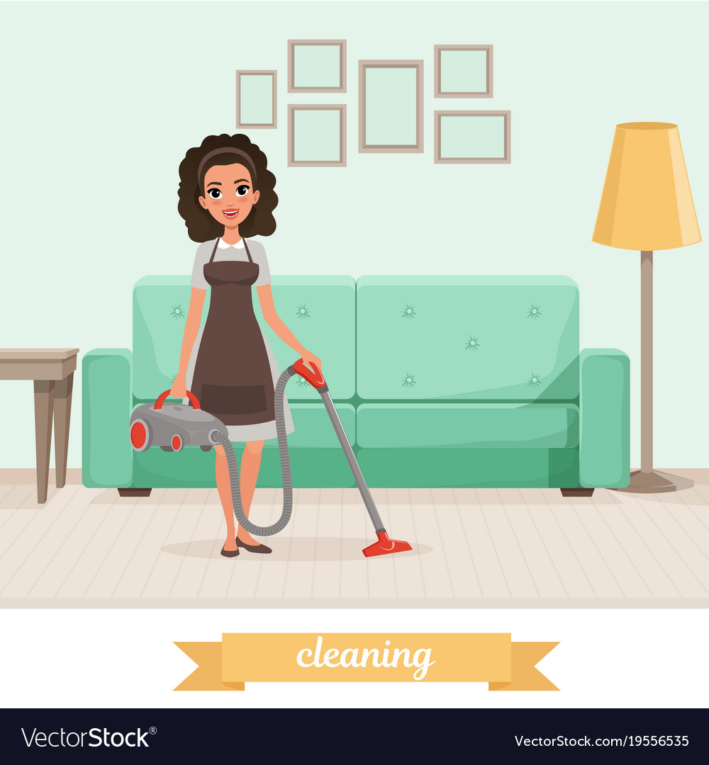 Young girl cleaning floor with vacuum cleaner at