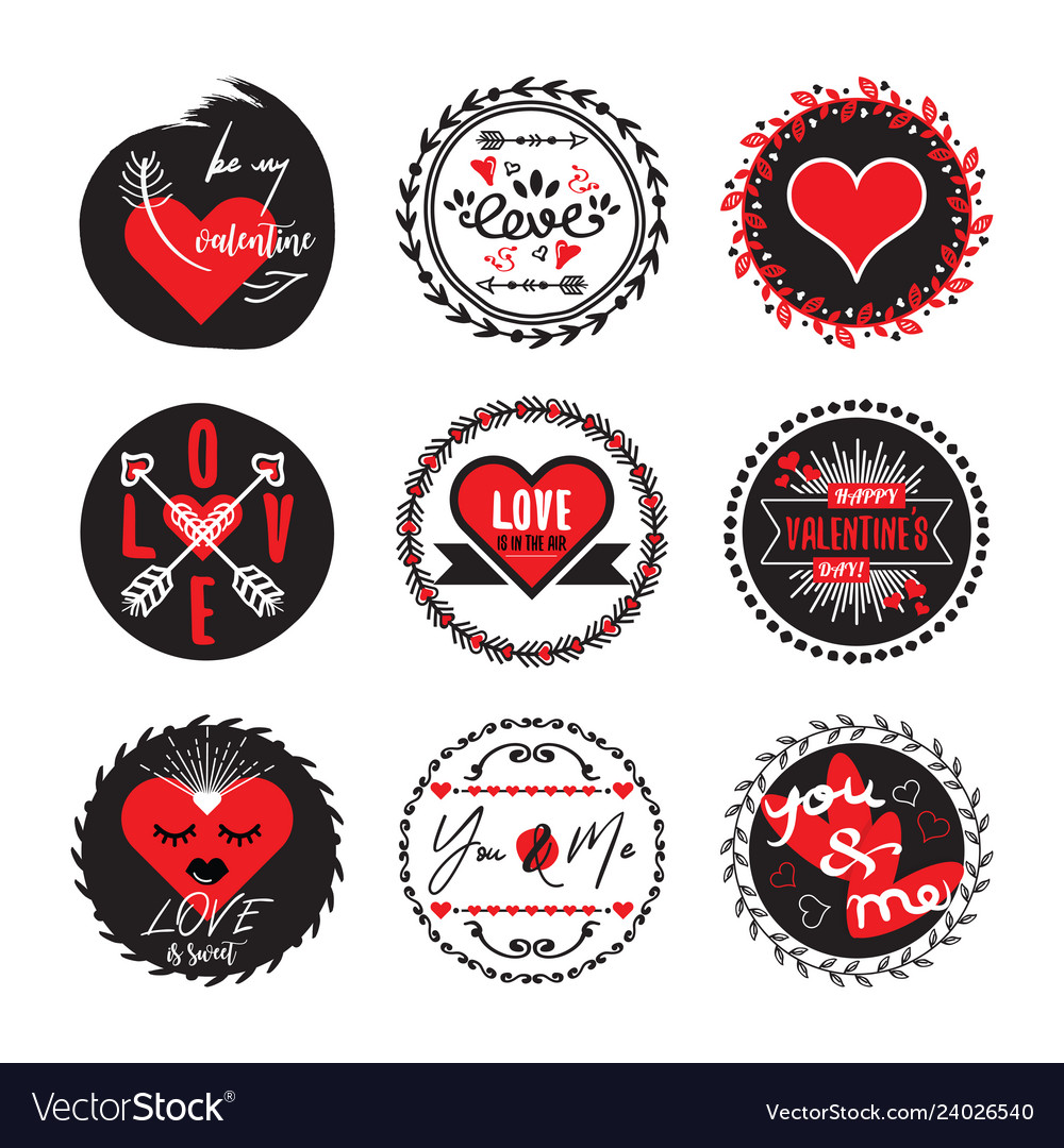 Black and red circle cute love and heart emblems
