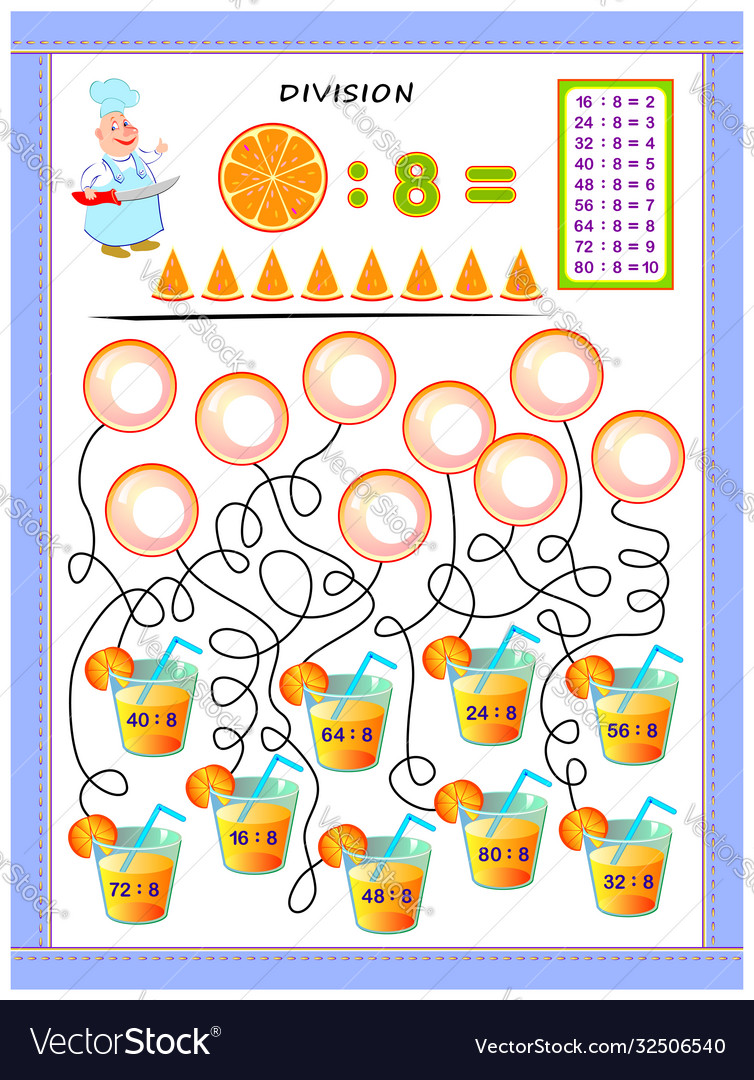 Exercises for kids with division table number