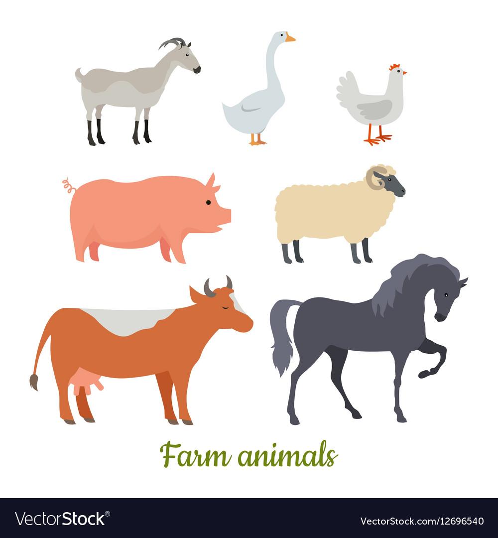 Farm animals set stickers for children
