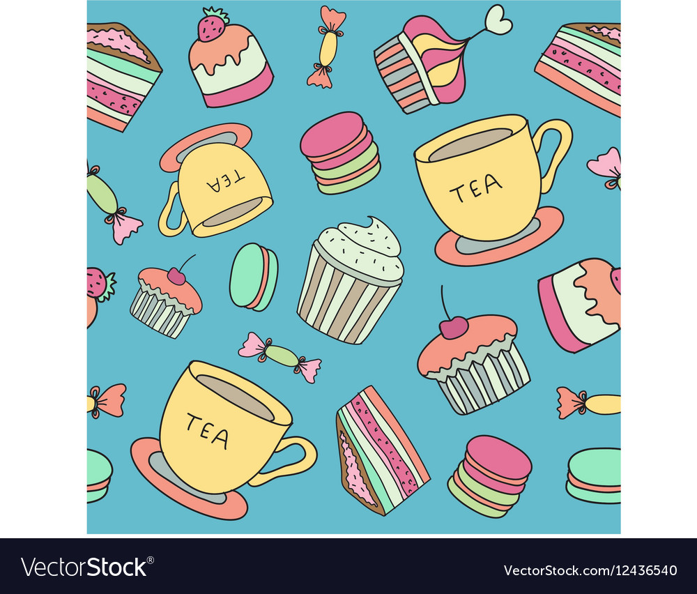Tea time seamless pattern with hand drawn doodle