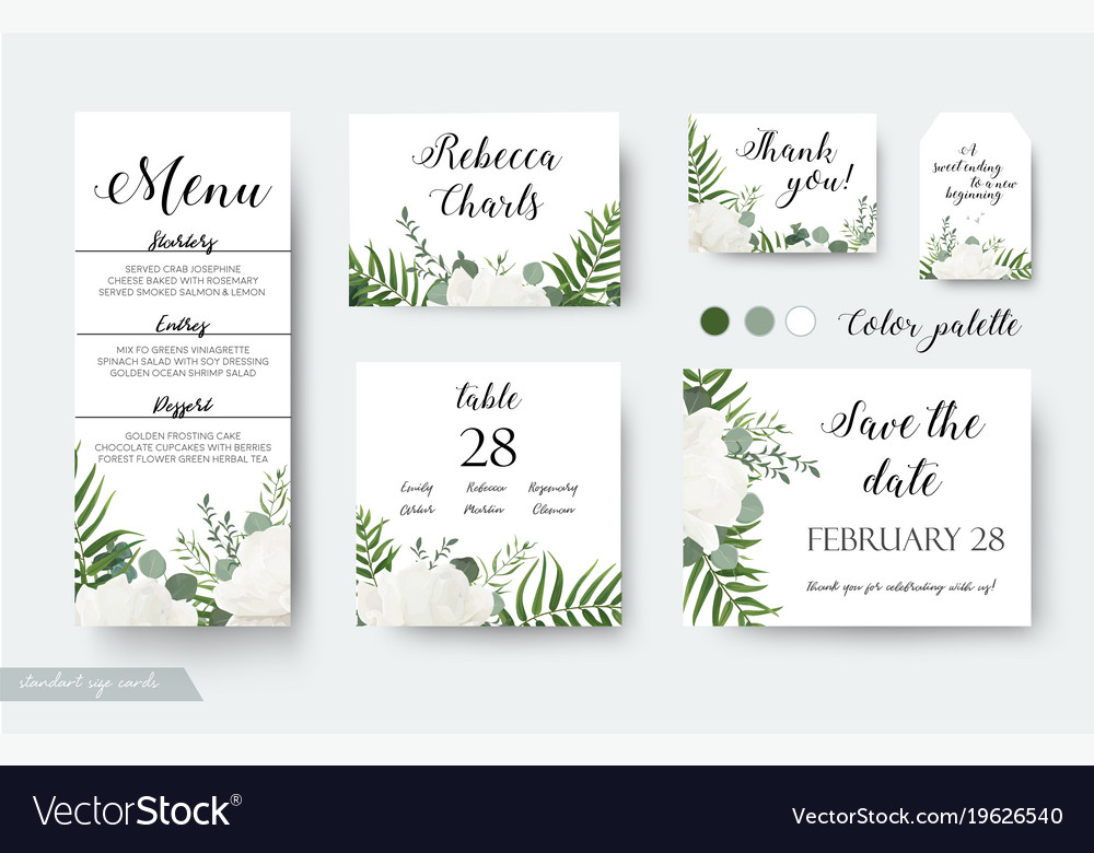 wedding cards floral design rsvp menu cards set vector image