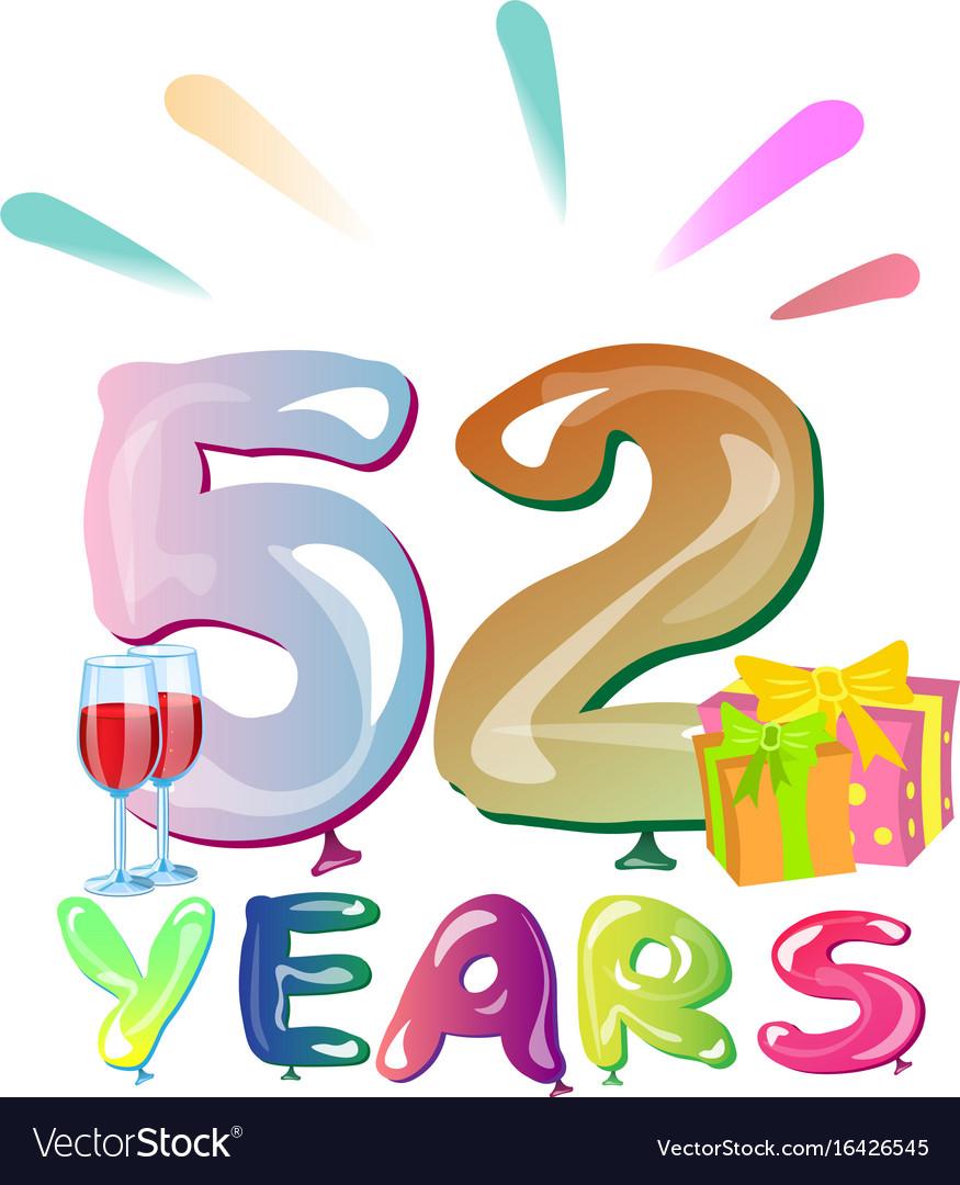 52 years anniversary celebration greeting card