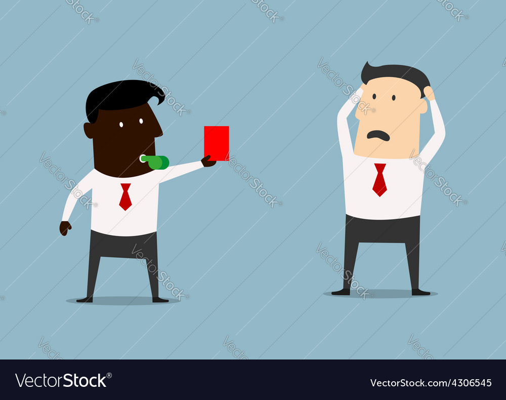African american boss showing red card to manager