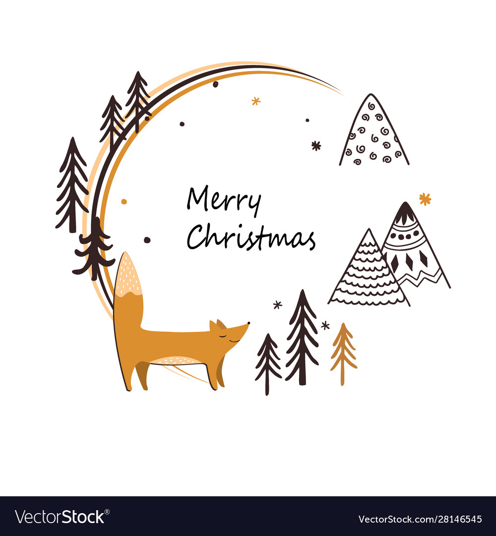 Christmas stylish card with cute fox doodle