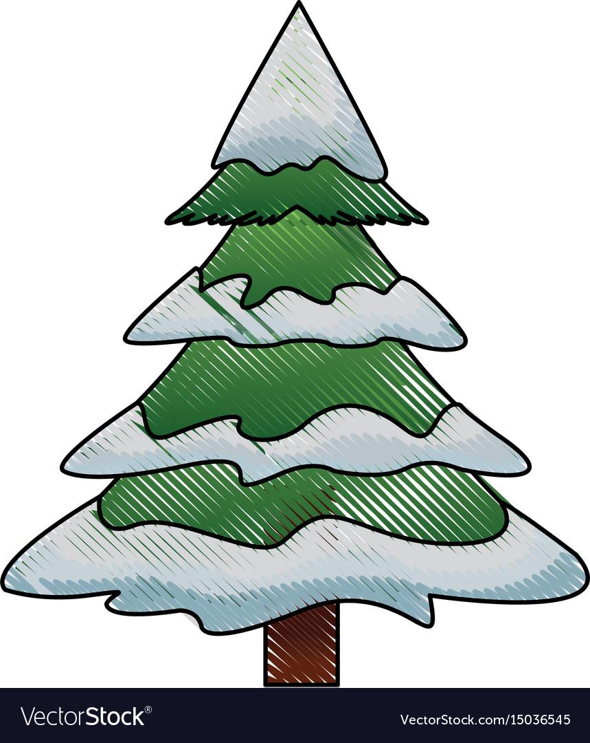 Cartoon Christmas Tree.Christmas Tree Pine Ornament Cartoon Icon
