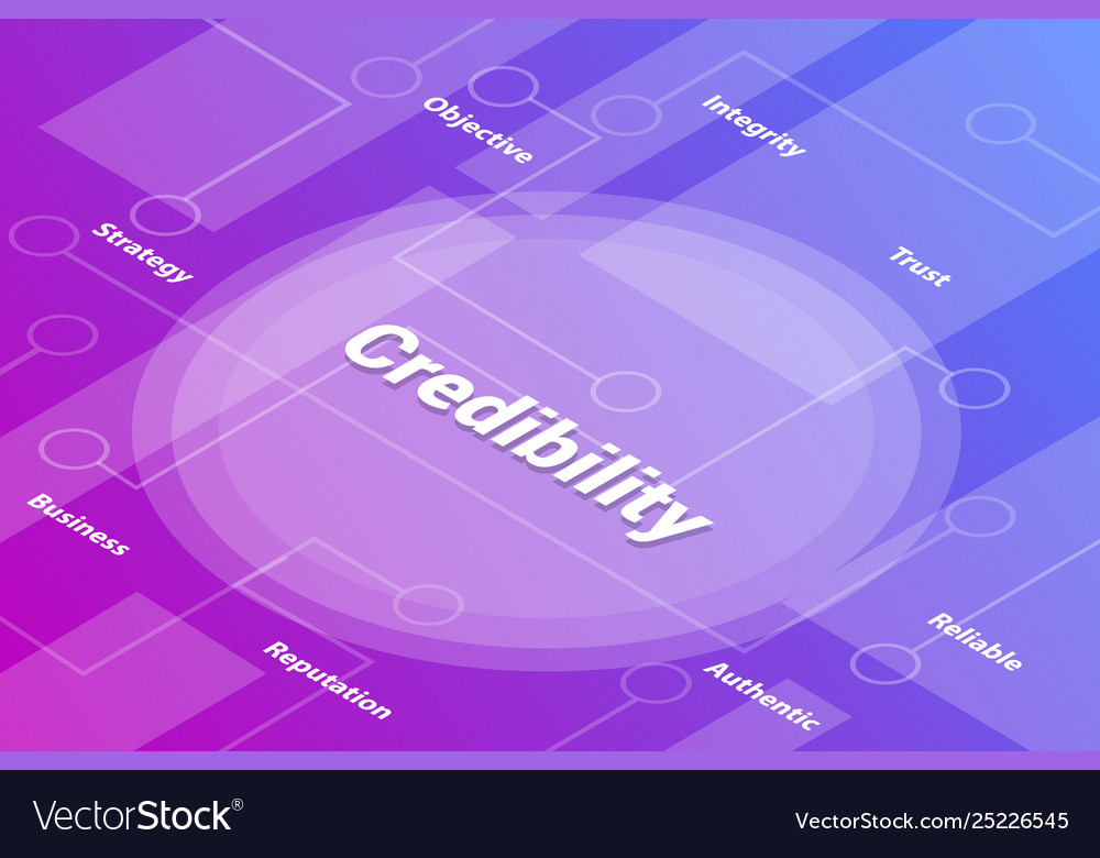Credibility words isometric 3d word text concept