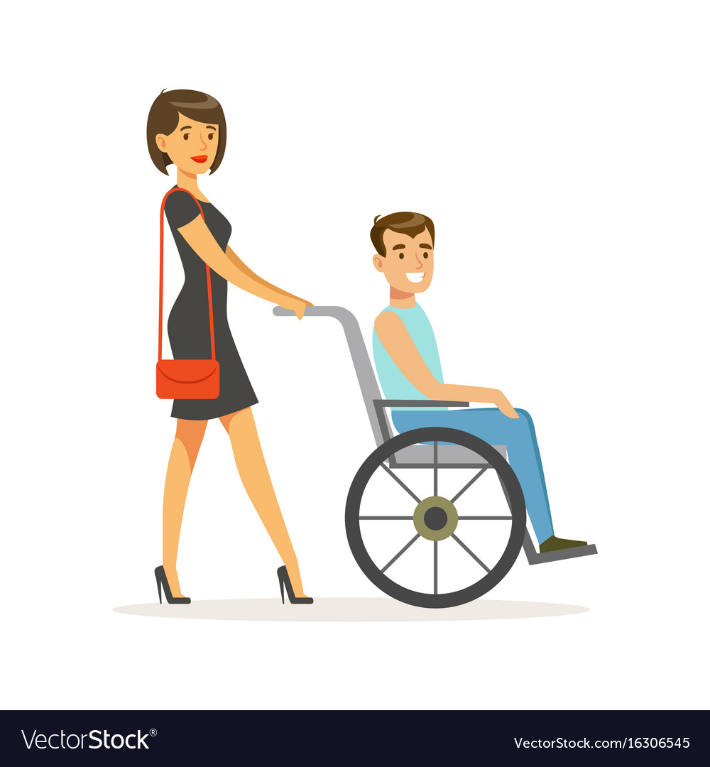Disabled young man in wheelchair smiling female