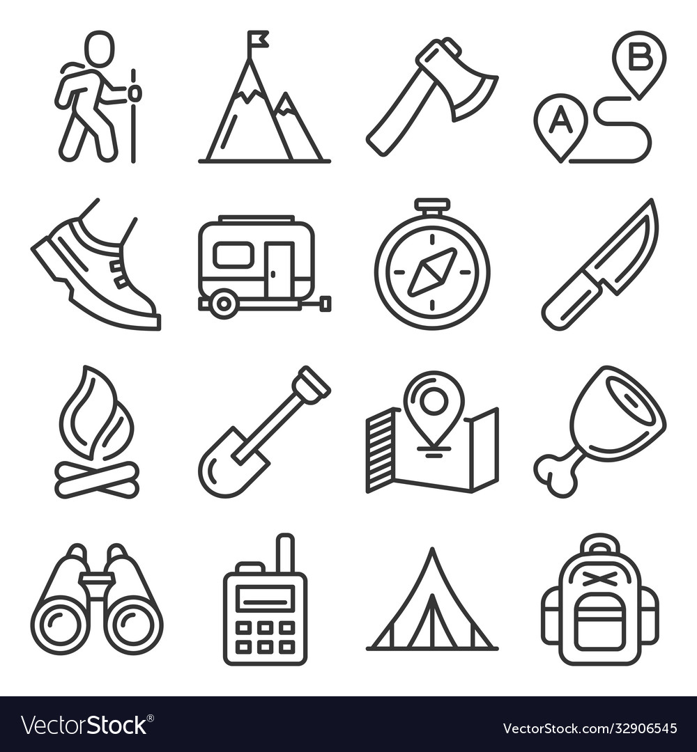 Hiking camping and recreation icons set