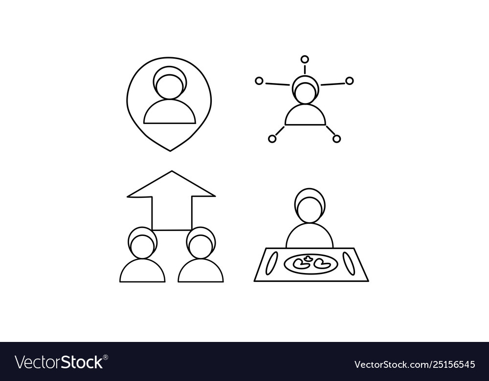 Icon set person in location people arrow food