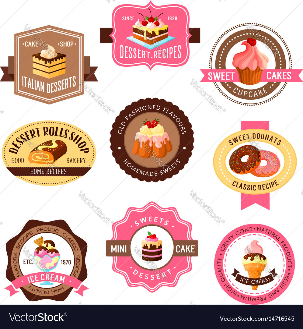 Icons set for pastry dessert cakes