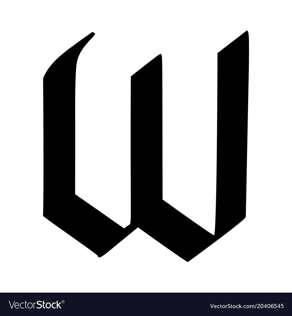 Letter w painted brush