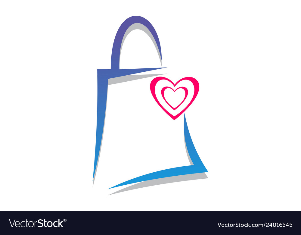 Love shopping logo icon concept