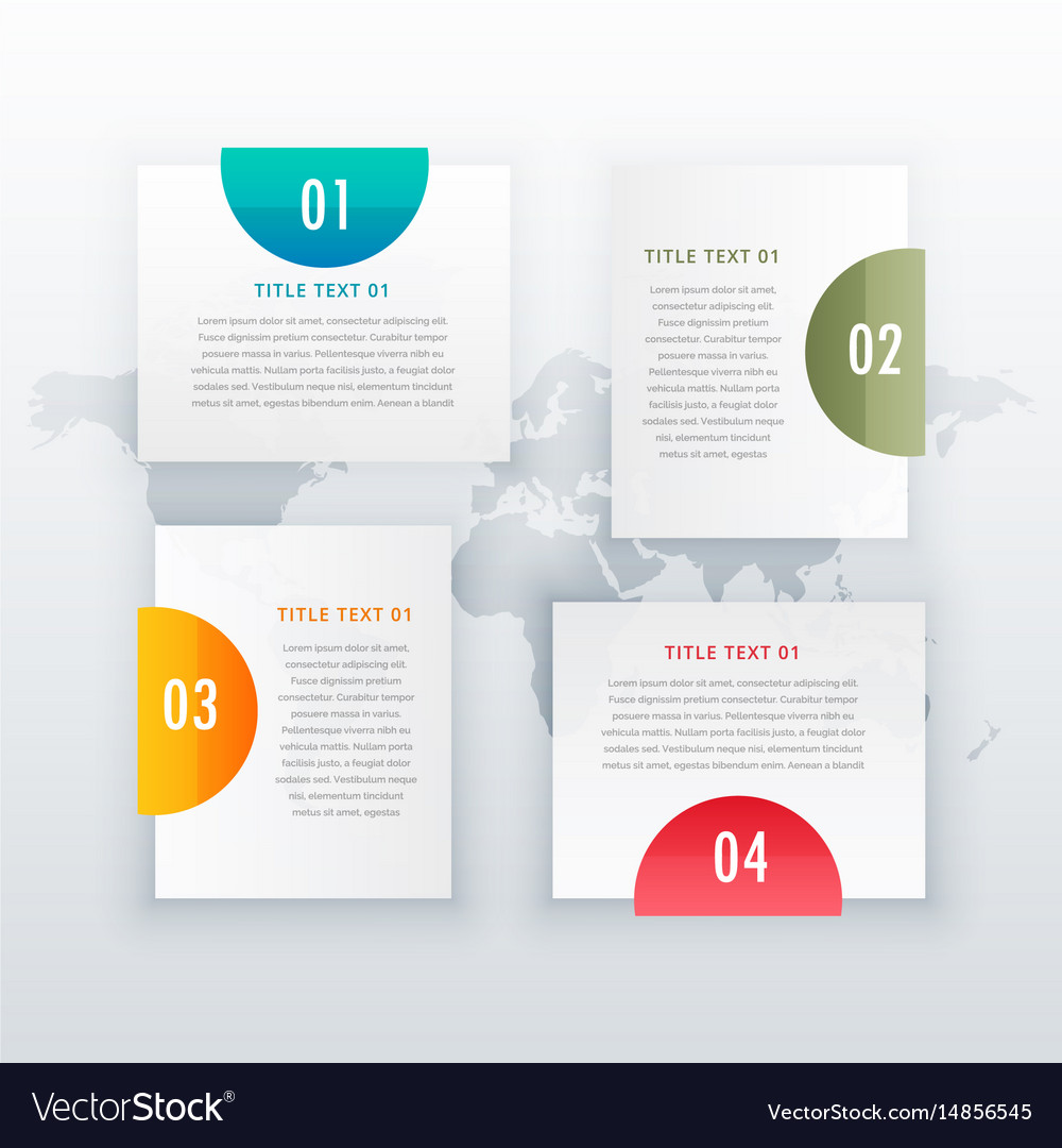 Modern four steps white infograph layout design