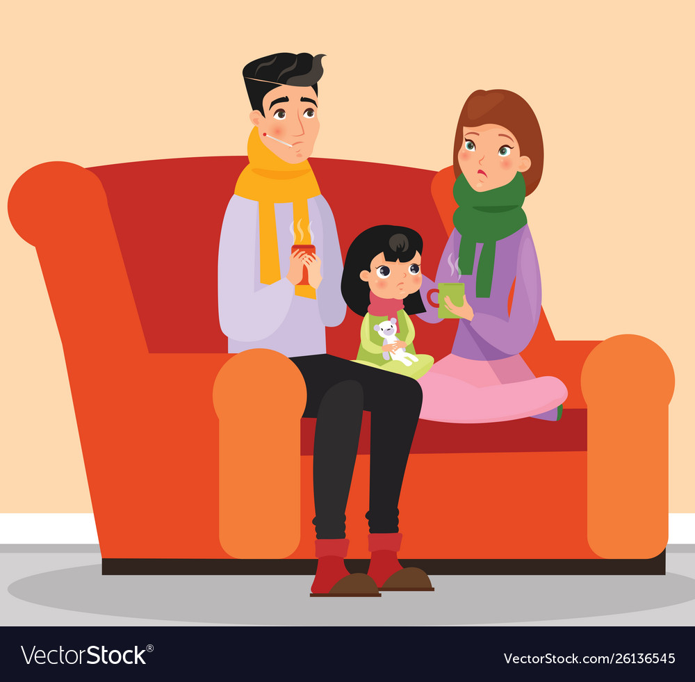 Parents and kid with flu