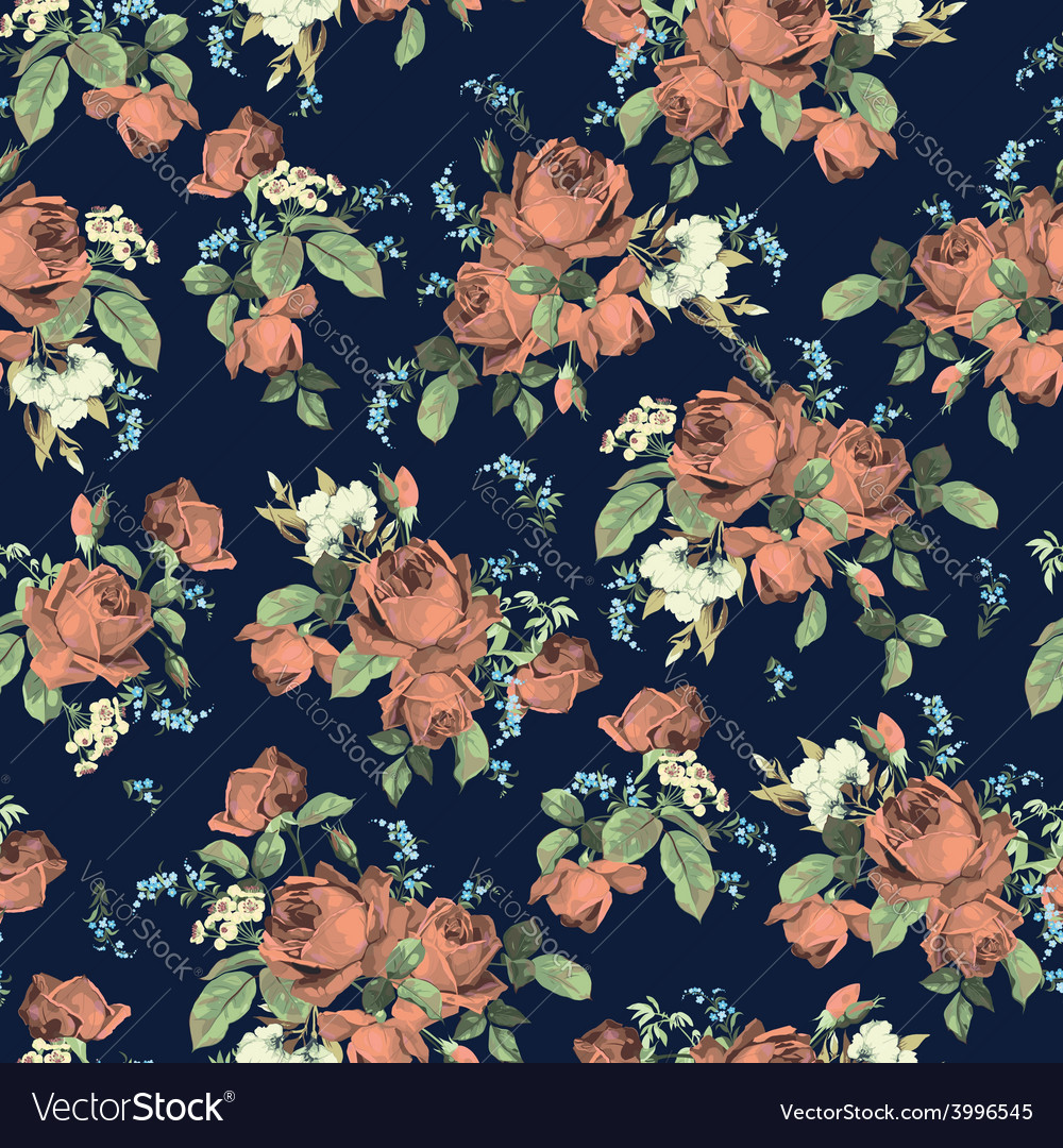 Seamless floral pattern with roses on dark