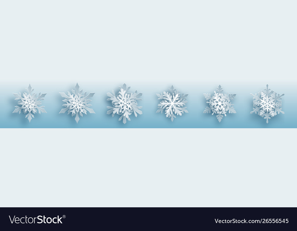 Set paper snowflakes vector