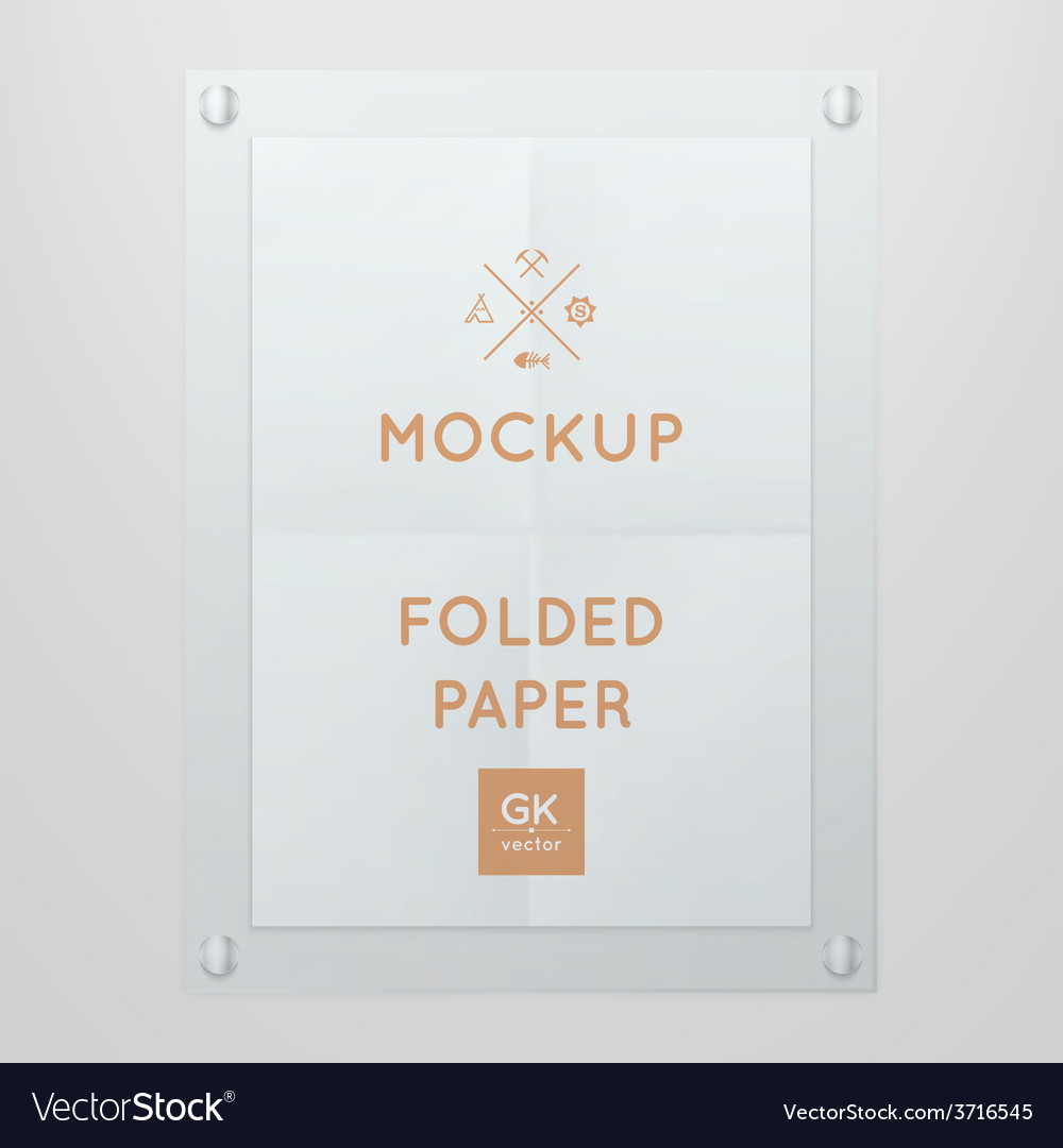 Template Of Folded Poster In Glass Frame Vector Image