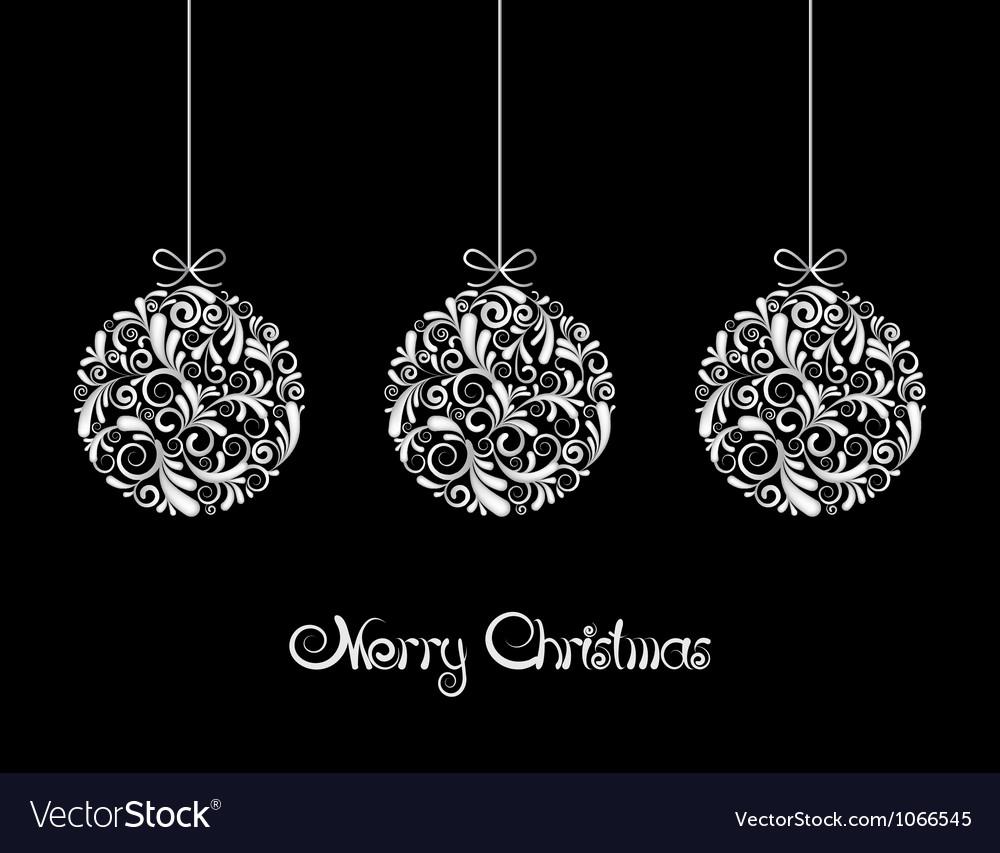 Black Christmas Balls.Three White Christmas Balls On Black Background