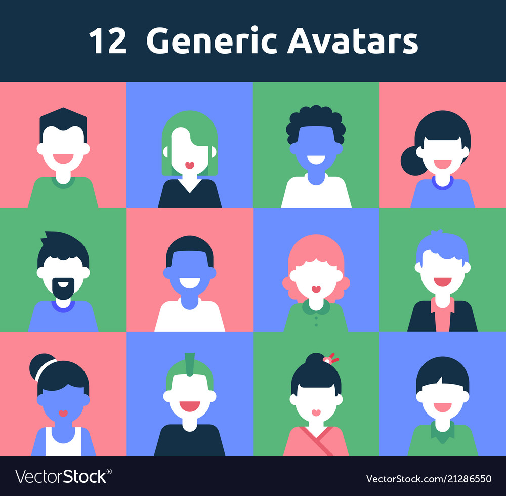 12 generic avatars for any needs