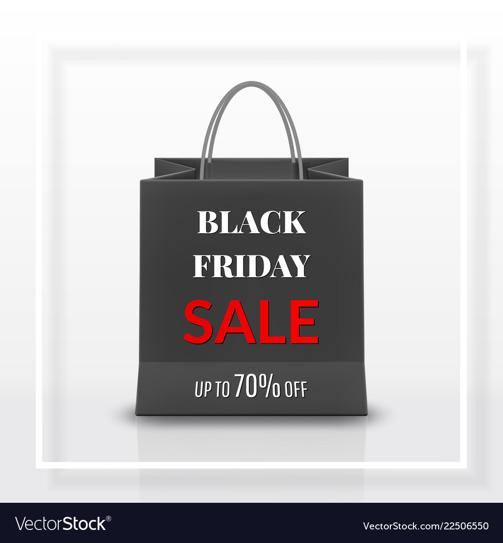 Black friday sale realistic black paper shopping