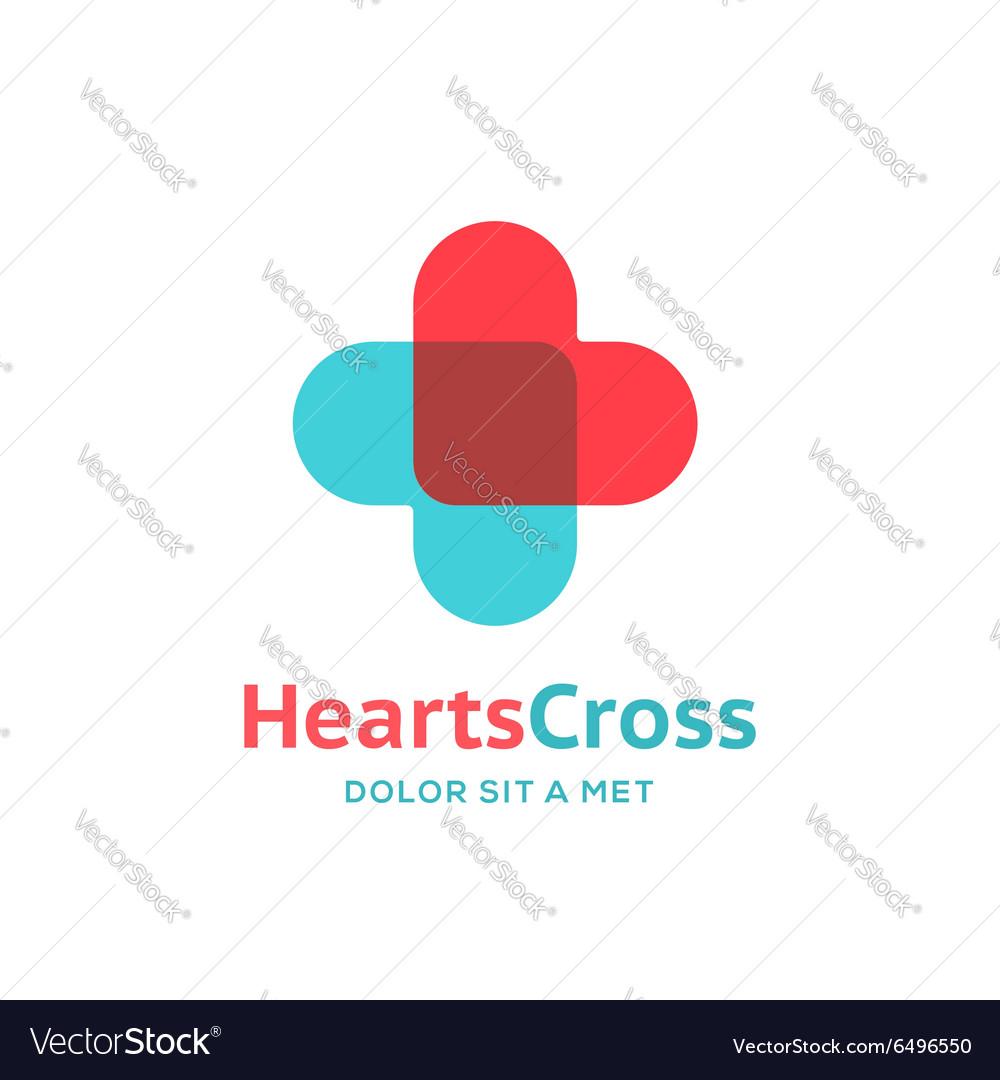 Cross plus heart medical logo icon design template