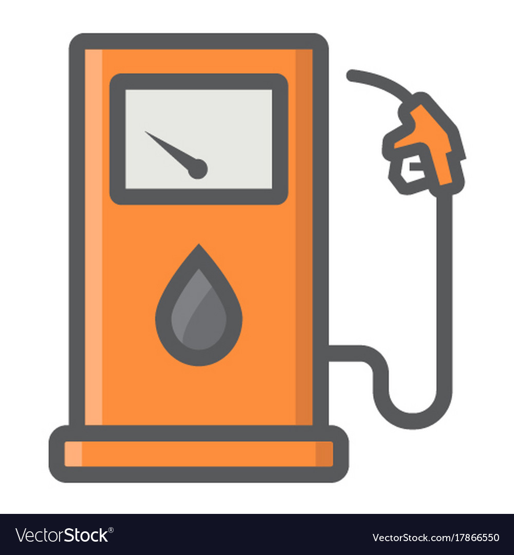 Gas station filled outline icon petrol and fuel