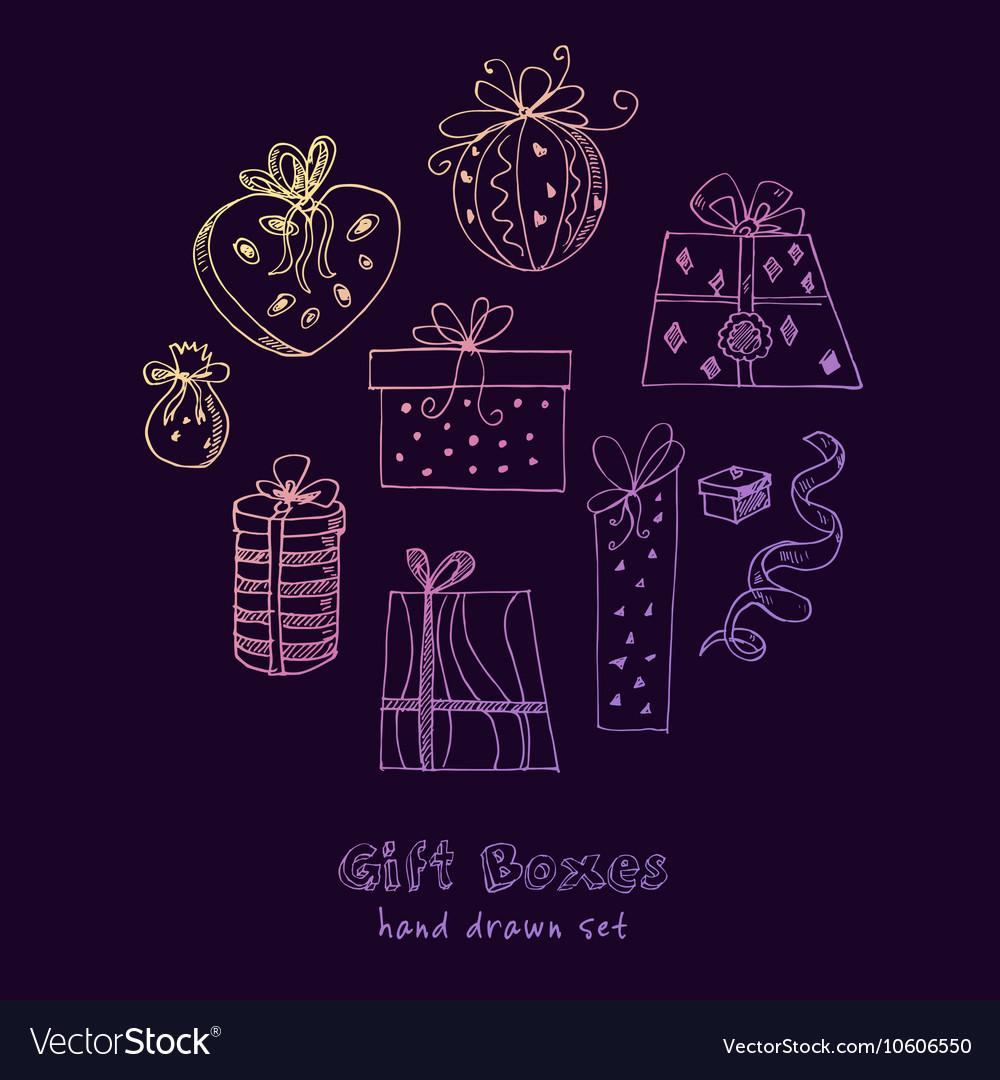 Gift boxes doodle set Vintage for