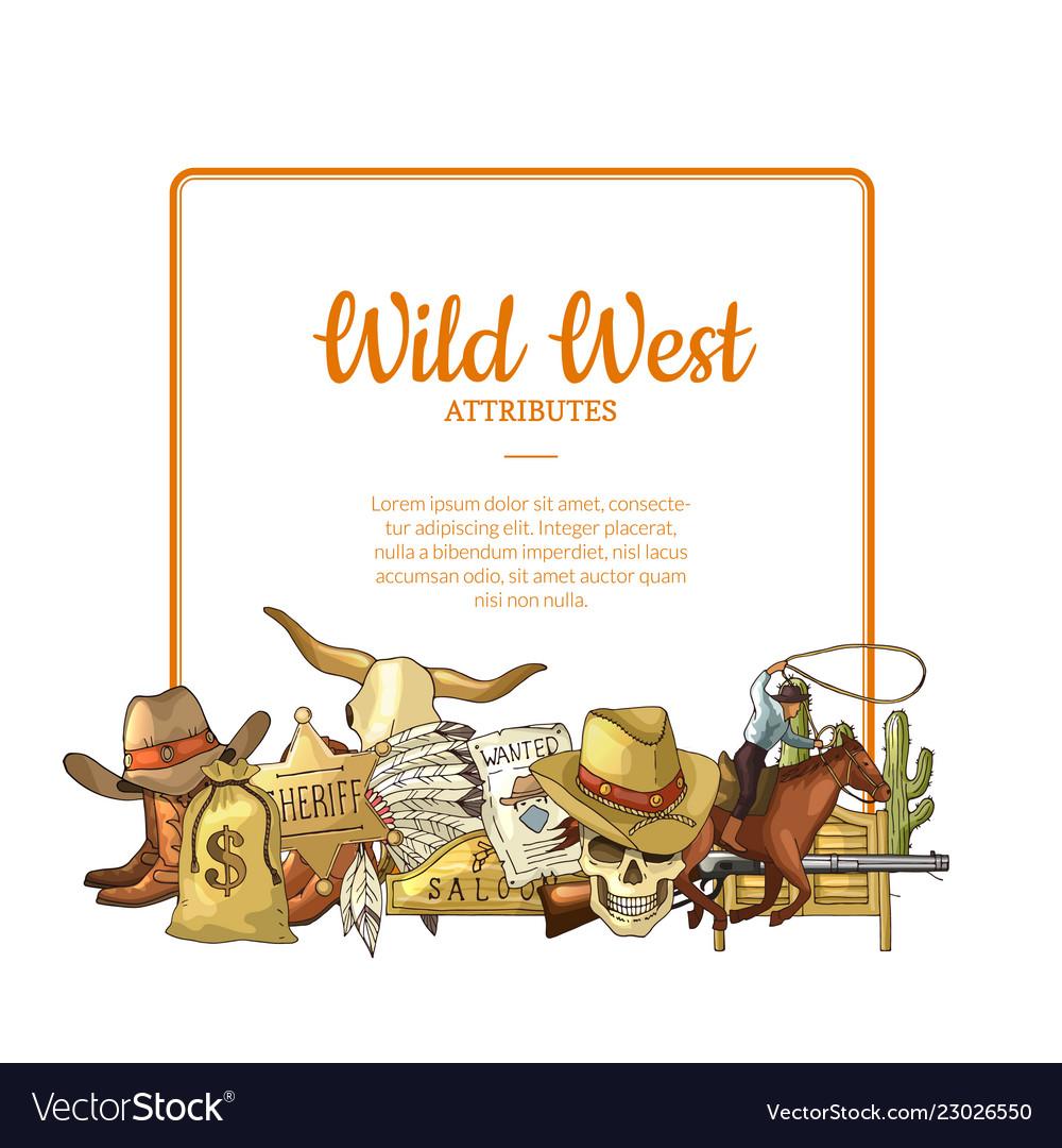 Hand drawn wild west cowboy elements below