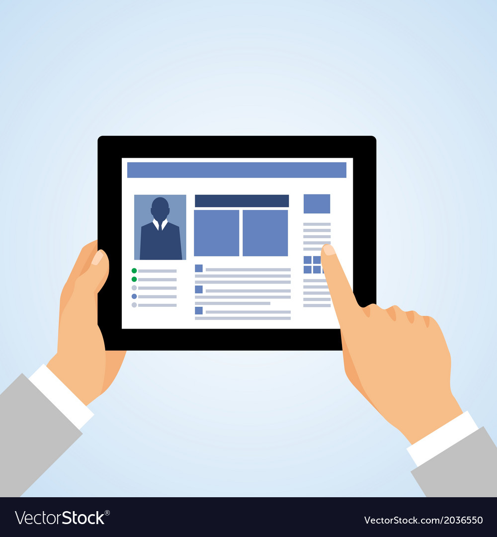 Hand tablet pc social vector image