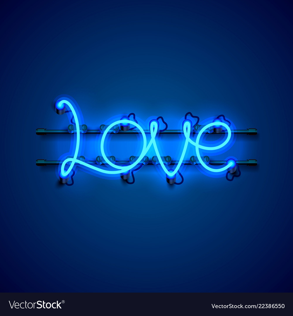 Neon text love signboard on the blue background
