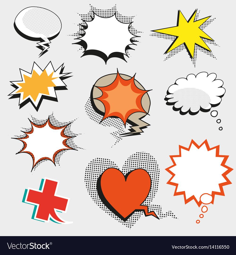 Pop art comic speech bubbles shapes and
