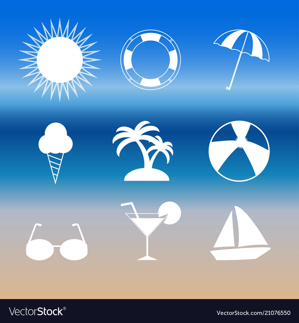 Summer set icons isolated on background modern fl
