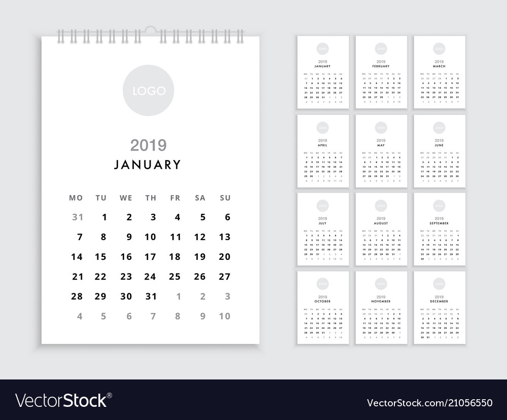 Wall Calendars 2019 Wall calendar 2019 template Royalty Free Vector Image