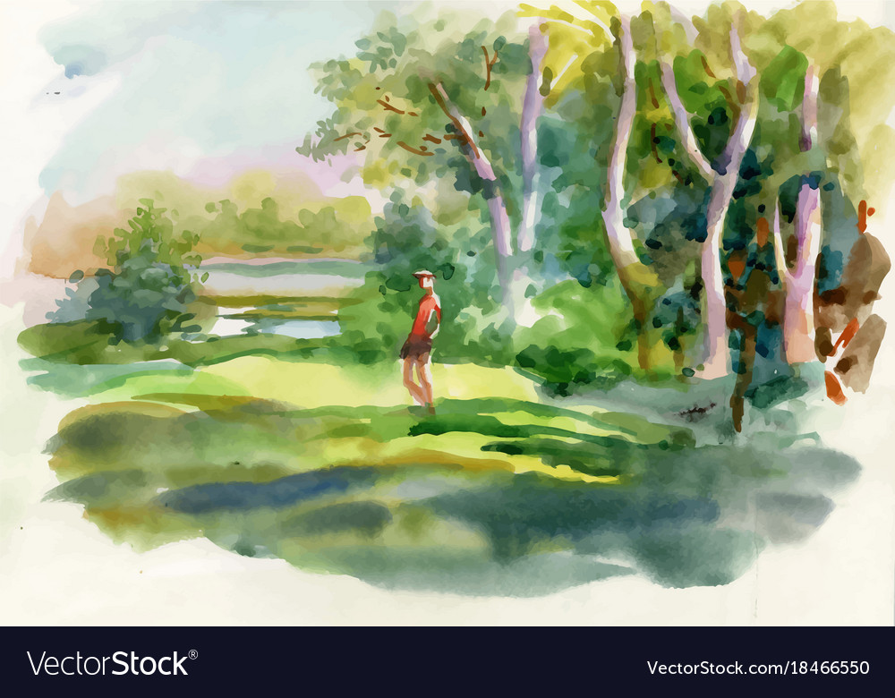 Watercolor summer rural landscape with trees at