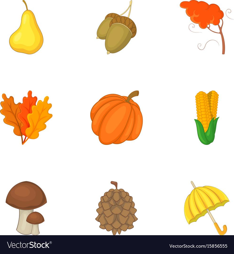 Autumn harvest icons set cartoon style vector image
