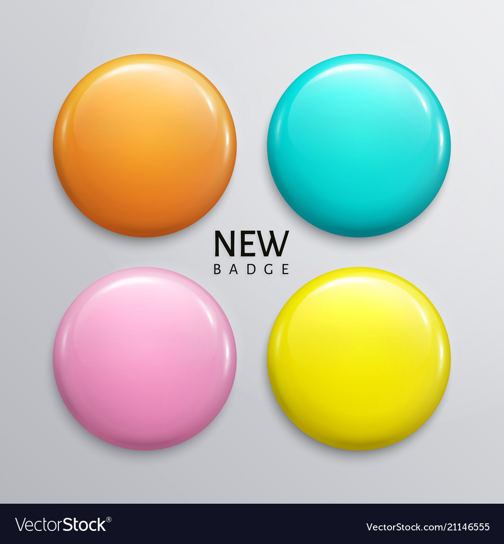 Blank glossy badges pin or web button vector image