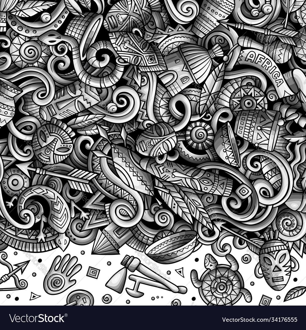Cartoon doodles africa monochrome african
