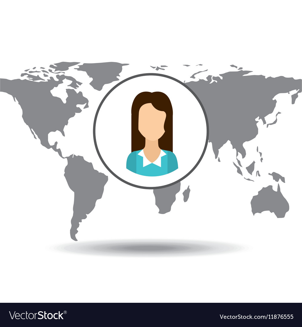 Cartoon woman social media world map royalty free vector cartoon woman social media world map vector image gumiabroncs Image collections