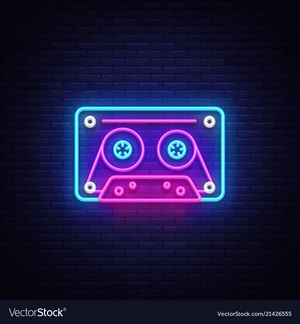 Cassetts for tape recorder neon sign retro