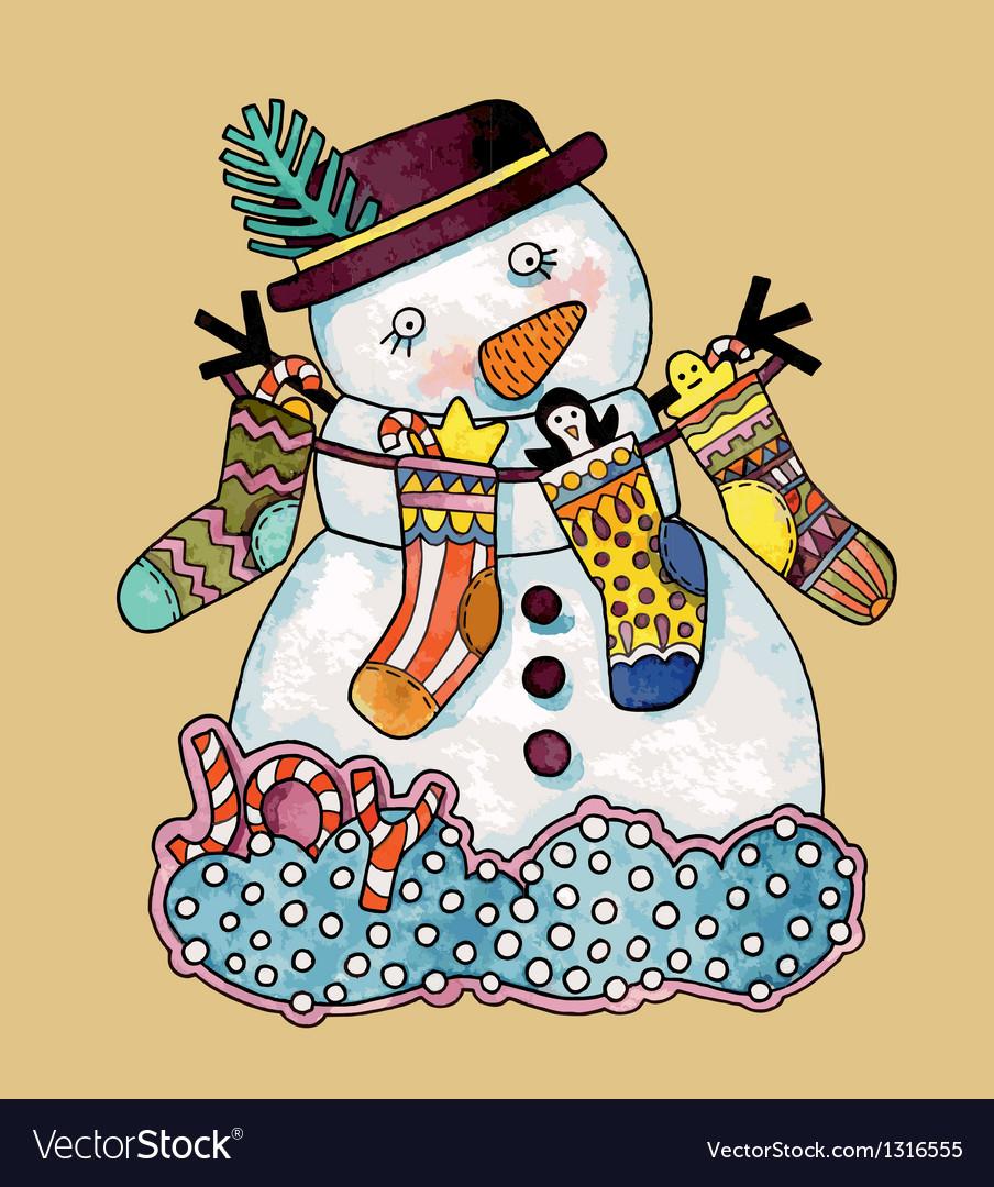 Christmas design Watercolor snowman