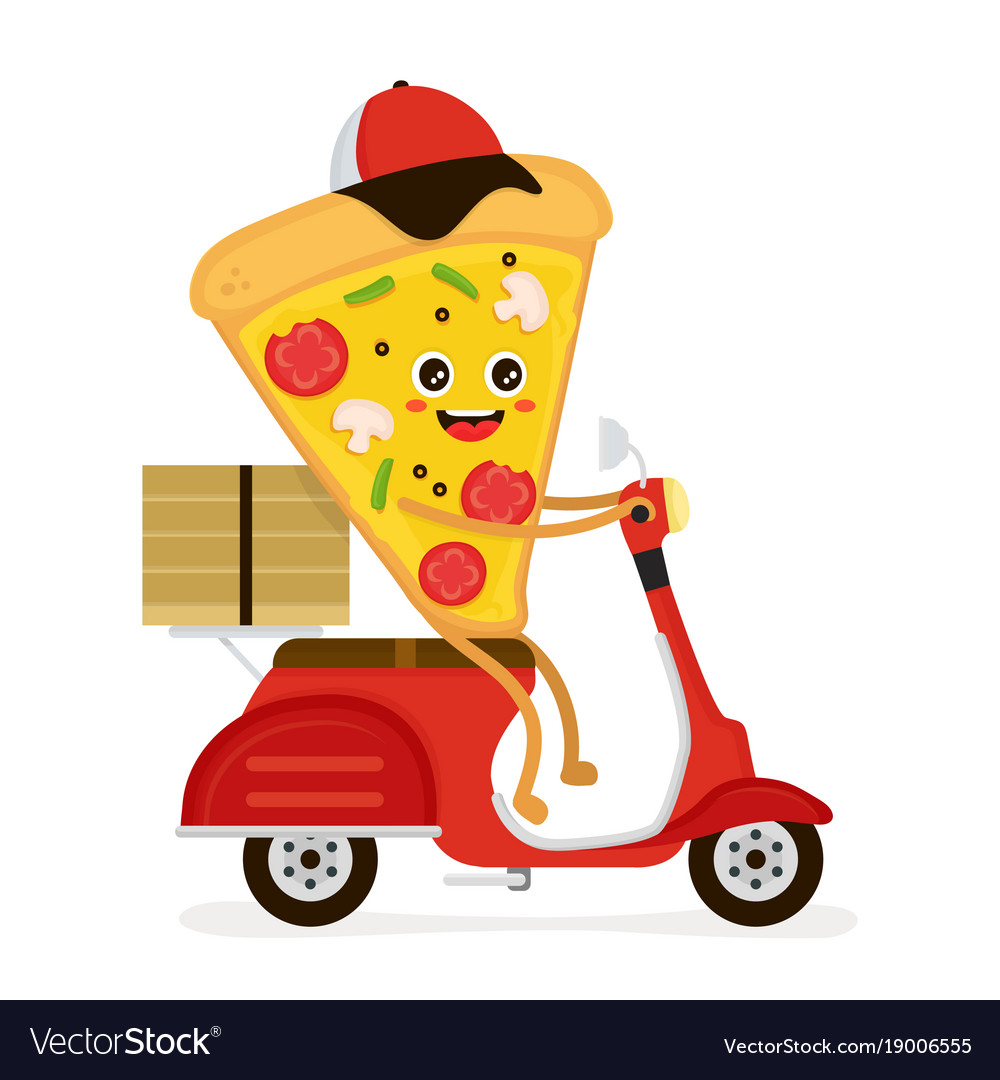 Cute smiling funny cute pizza slice rides